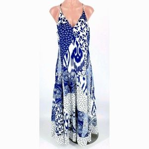 REBECCA TAYLOR Blue White Mosaic Silk Maxi Dress